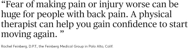 How to relieve back pain. Quote from Rachel Feinberg