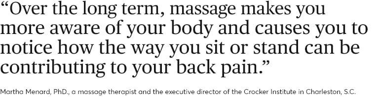 How to relieve back pain. Quote from Martha Menard, PhD.