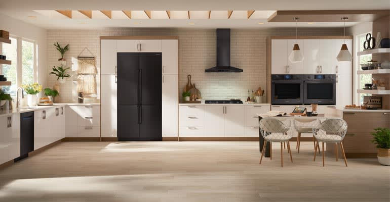 Kitchen With Black Stainless Appliances. Photo: Samsung