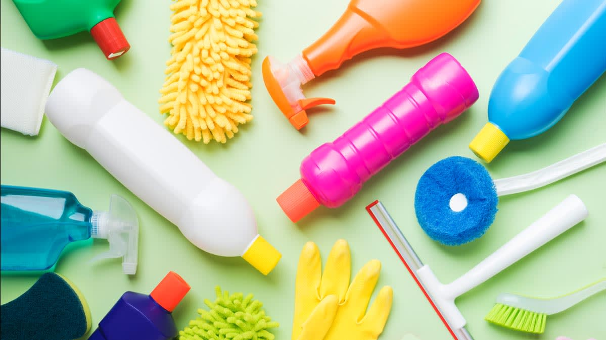 A collection of cleaning supplies; here are the cleaning myths you can let go of.
