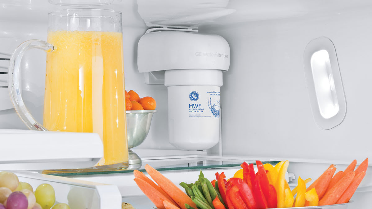 A water filter in the refrigerator.