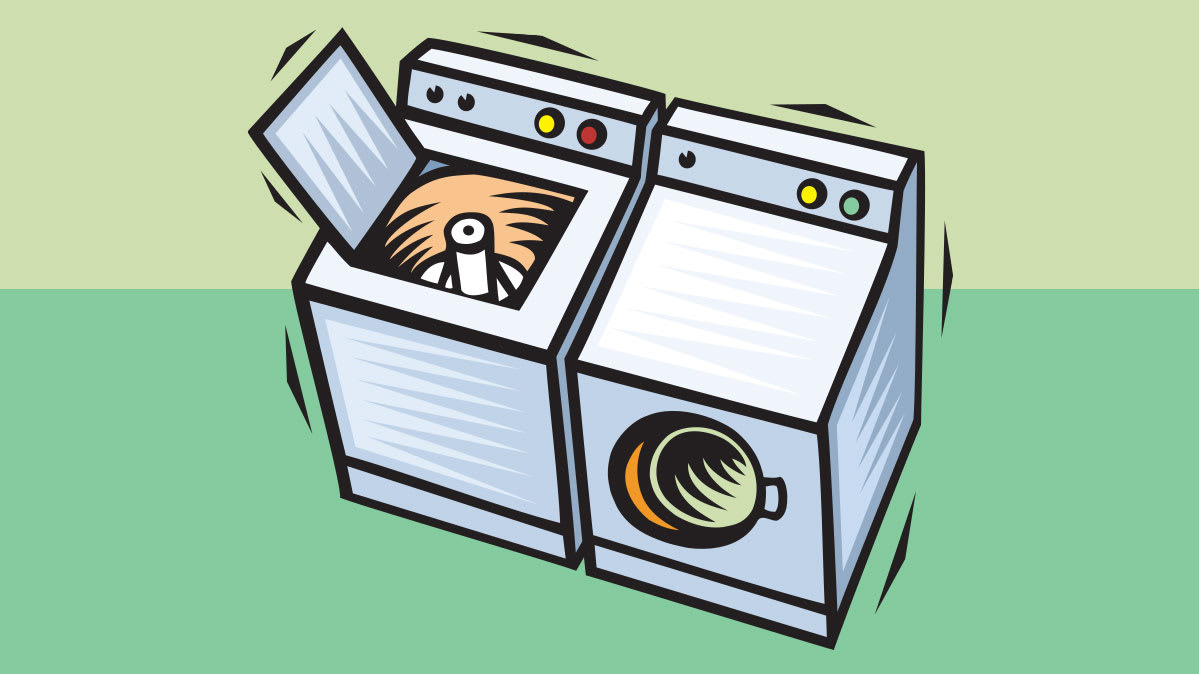 An illustration of a washer and dryer pair.