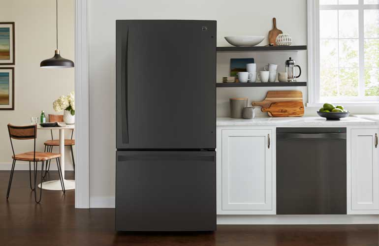 The black stainless steel Kenmore Elite 79049 bottom-freezer refrigerator.