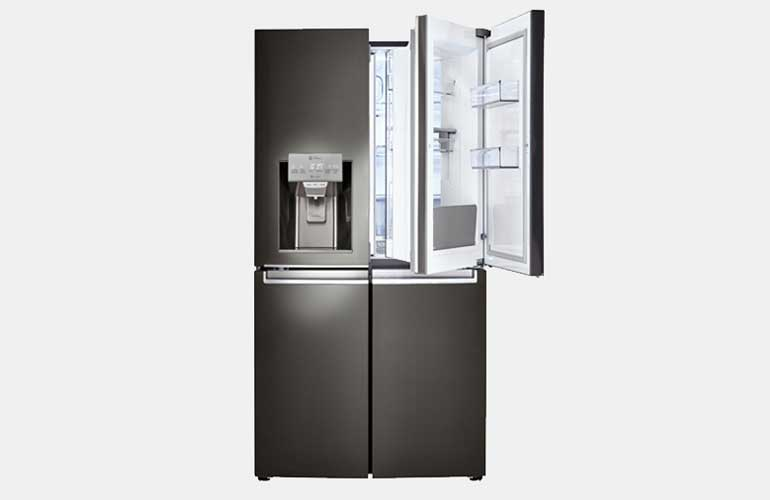 The black stainless steel LG LNXS30866D four-door French-door refrigerator.