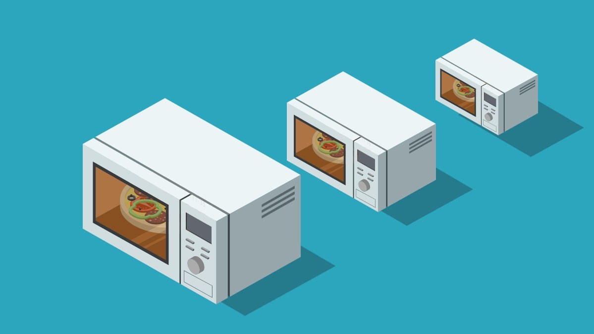 Three microwave sizes: small, midsized, large