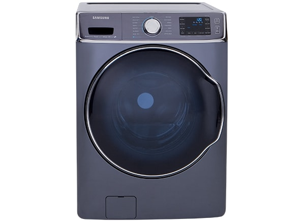 A front-loading washing machine.