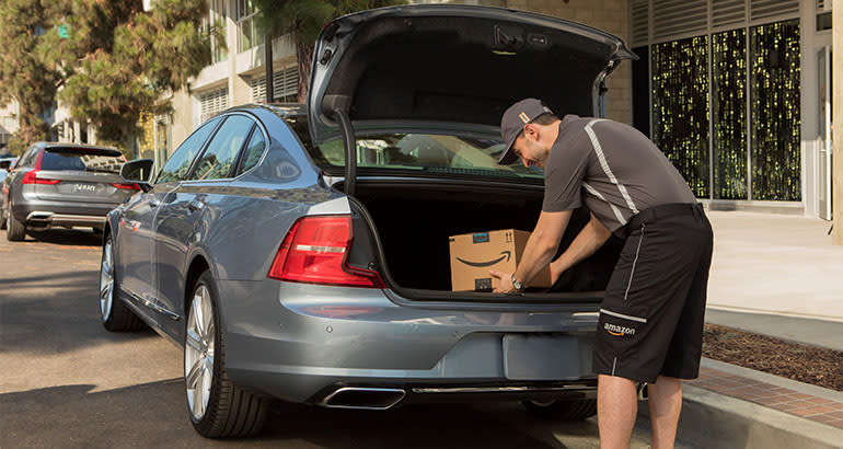 Amazon delivers package to Volvo