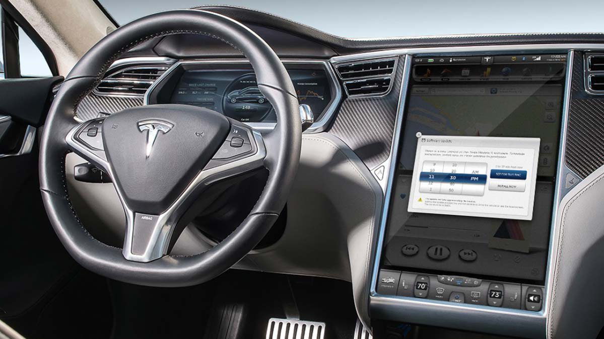 Tesla dashboard showing available OTA update.