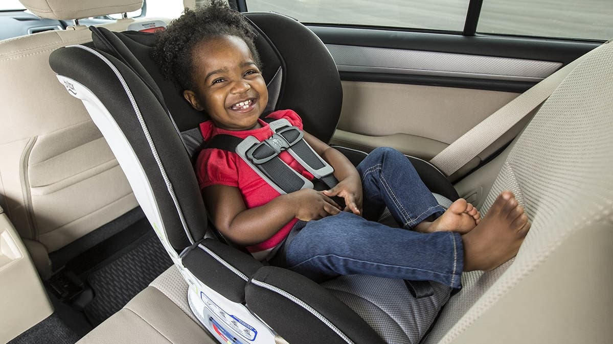 Child in rear-facing car seat