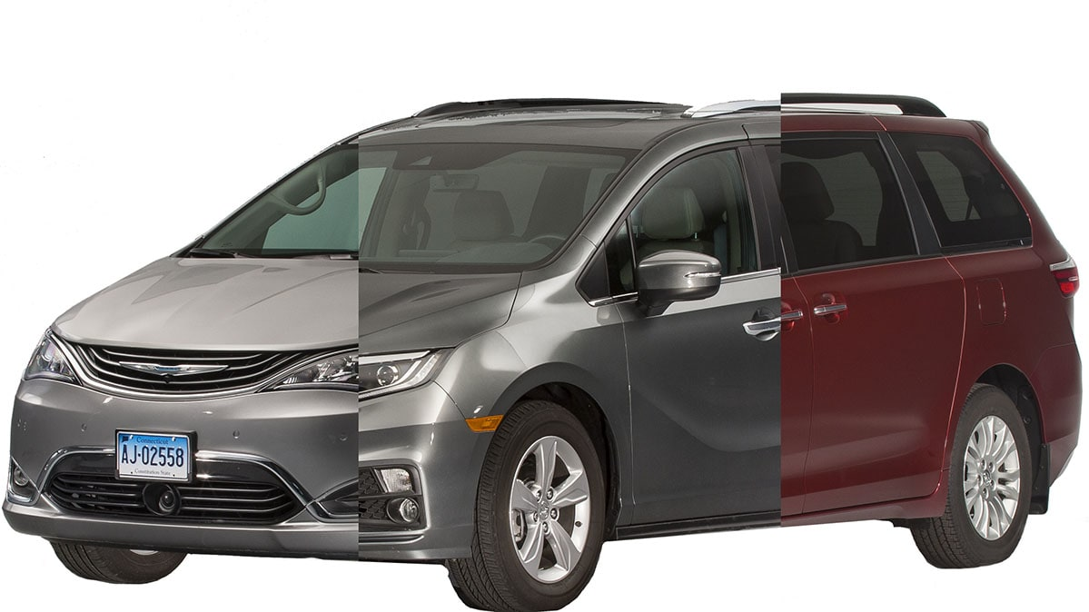 A composite image of the Chrysler Pacifica, Honda Odyssey, and Toyota Sienna in a minivan face-off.