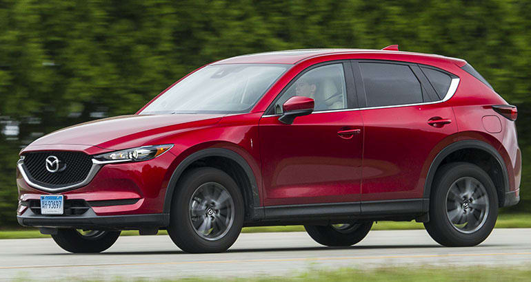 2018 Mazda CX-5 front three-quarter view.