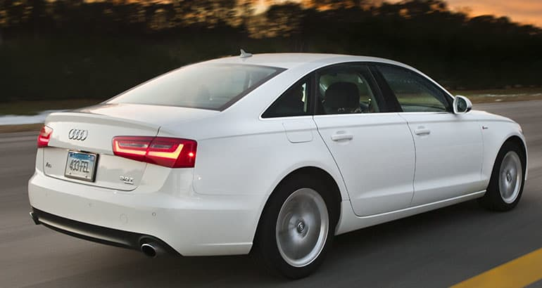 2012 Audi A6 driving at the Consumer Reports Auto Test Center.