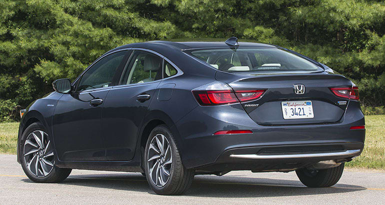 2019 Honda Insight rear three-quarter view.