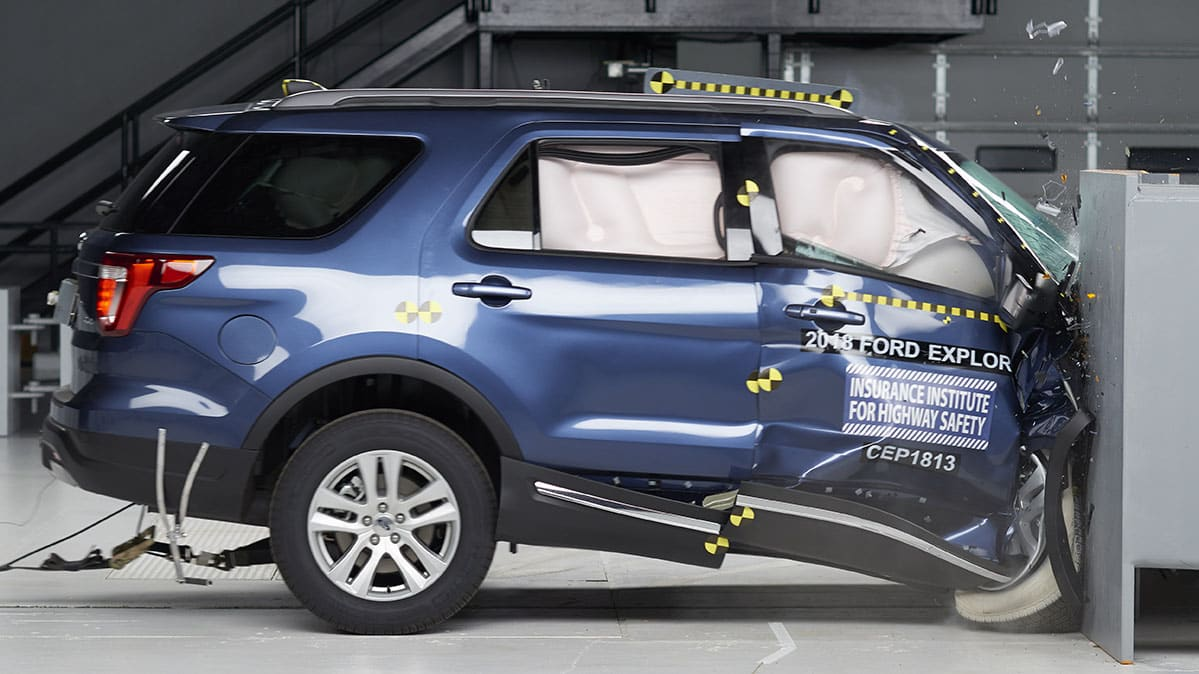 2018 Ford Explorer during IIHS crash test