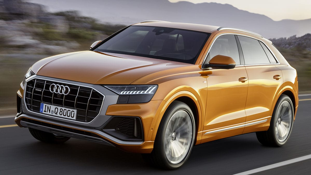 Front three-quarter view of 2019 Audi Q8 SUV