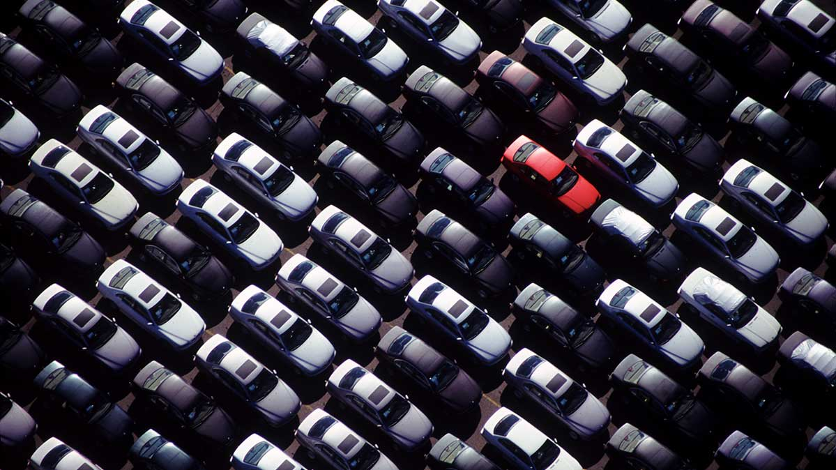 Cars in a big parking lot