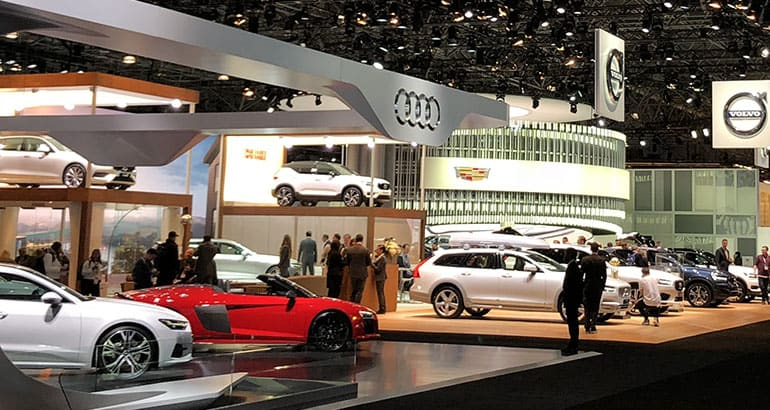 New York auto show floor, Audi booth