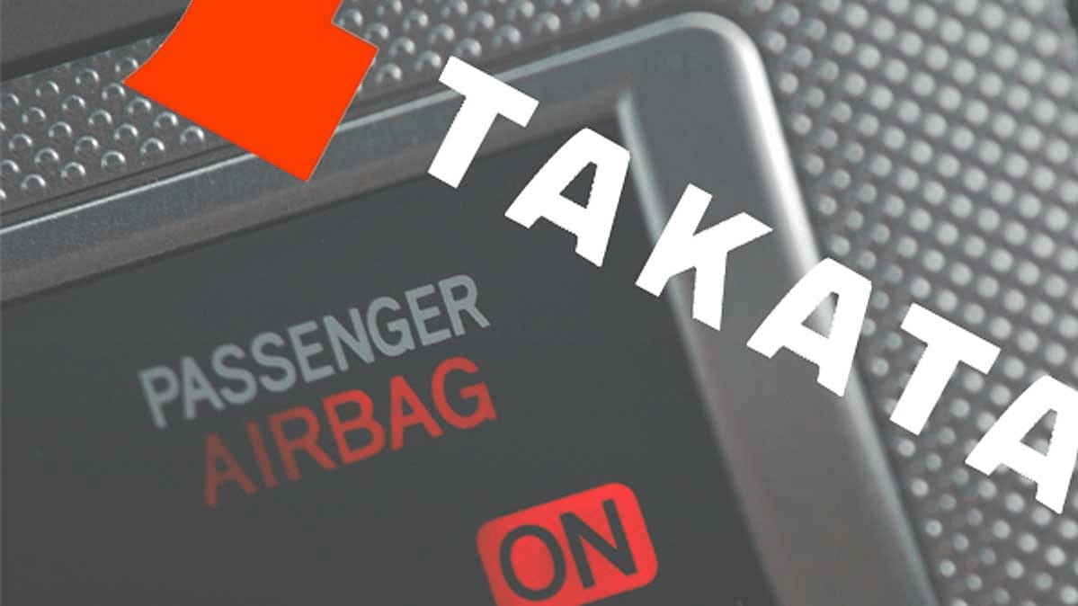 A photo of an airbag for the Takata airbag recall