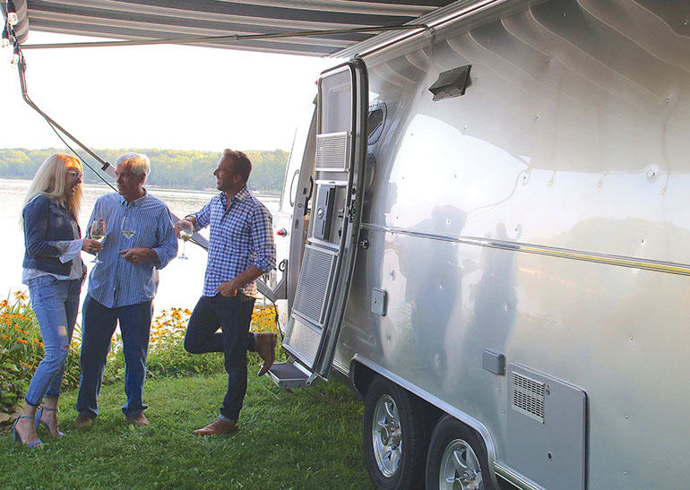 Airstream trailer with people