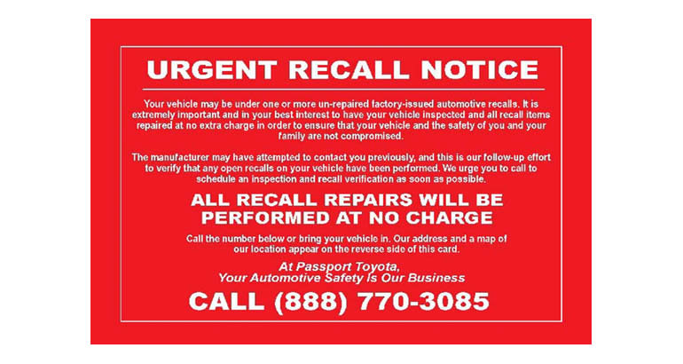 Fake recall notices