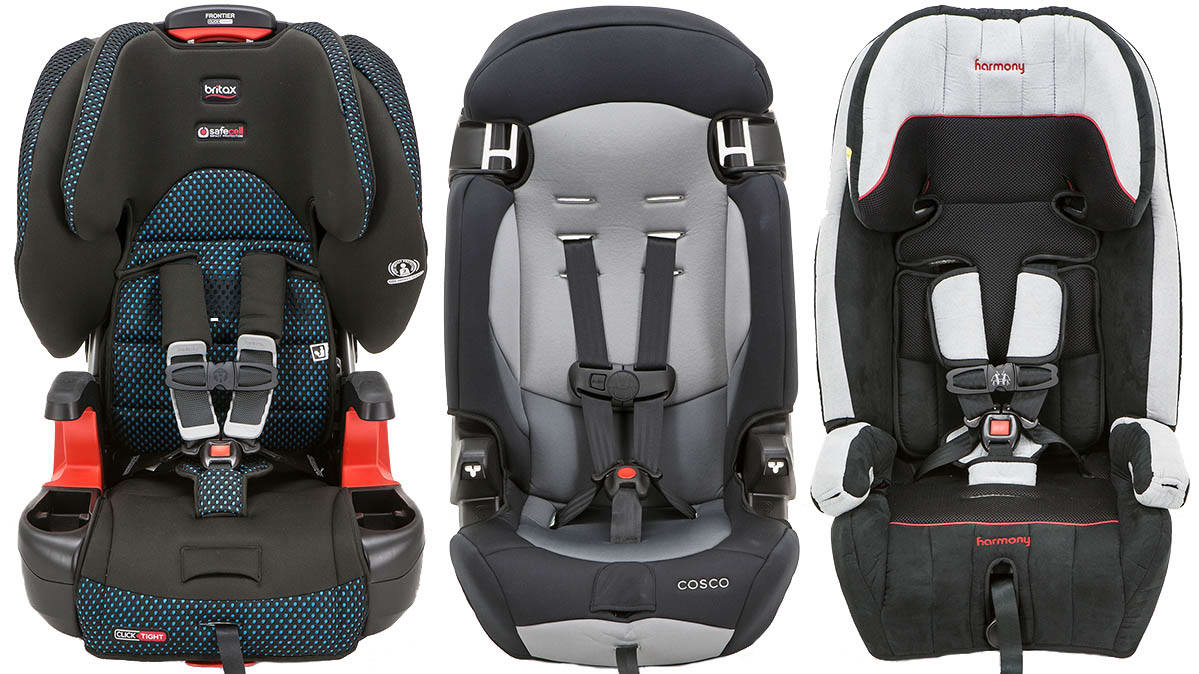 Child car seats from Britax, Cosco, and Harmony