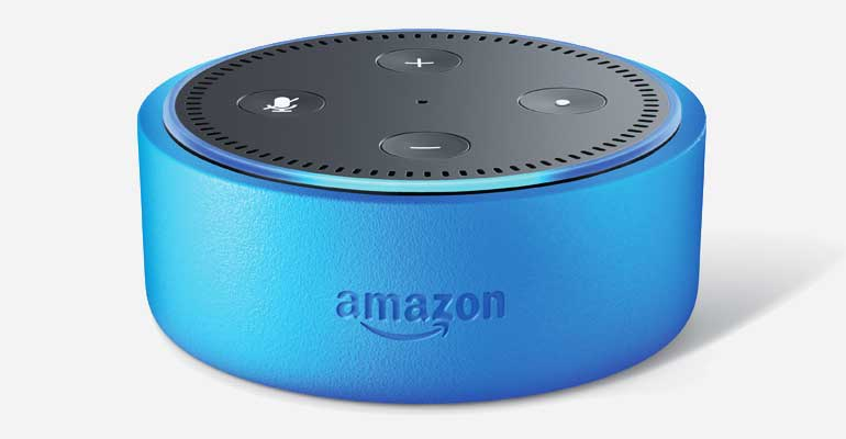 An Amazon Echo Dot Kids with a blue covering.