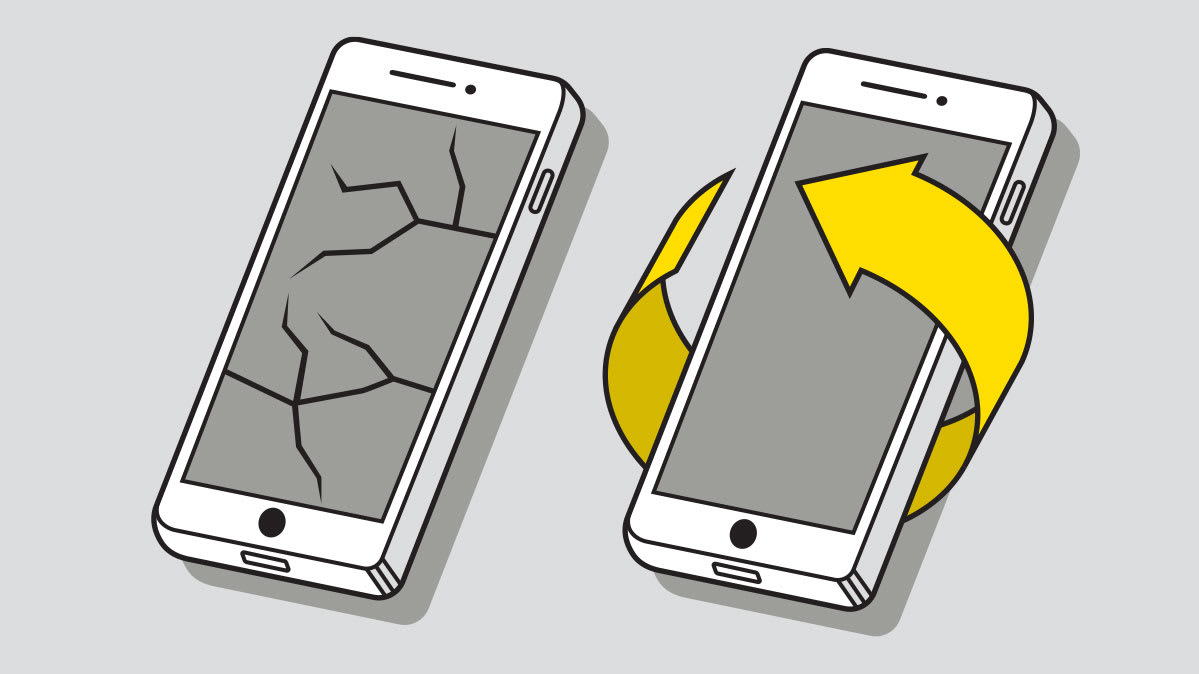 An illustration of two cell phones, one with a yellow band around it.