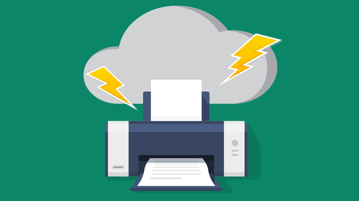 An illustration of a printer with a storm cloud above it.