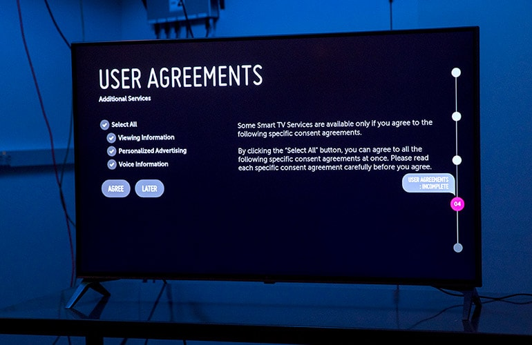 Photo of the LG TV's user agreements page.