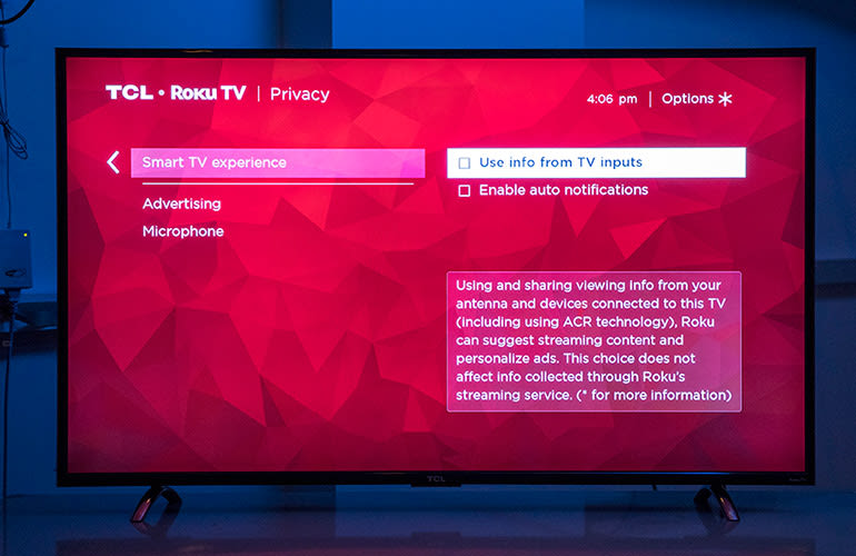 Photo of the Smart TV experience screen for the TCL Roku TV.