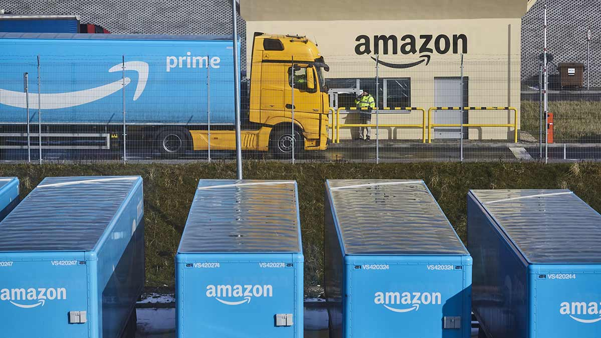Photos of trucks gearing up for the best Amazon Prime Day deals.