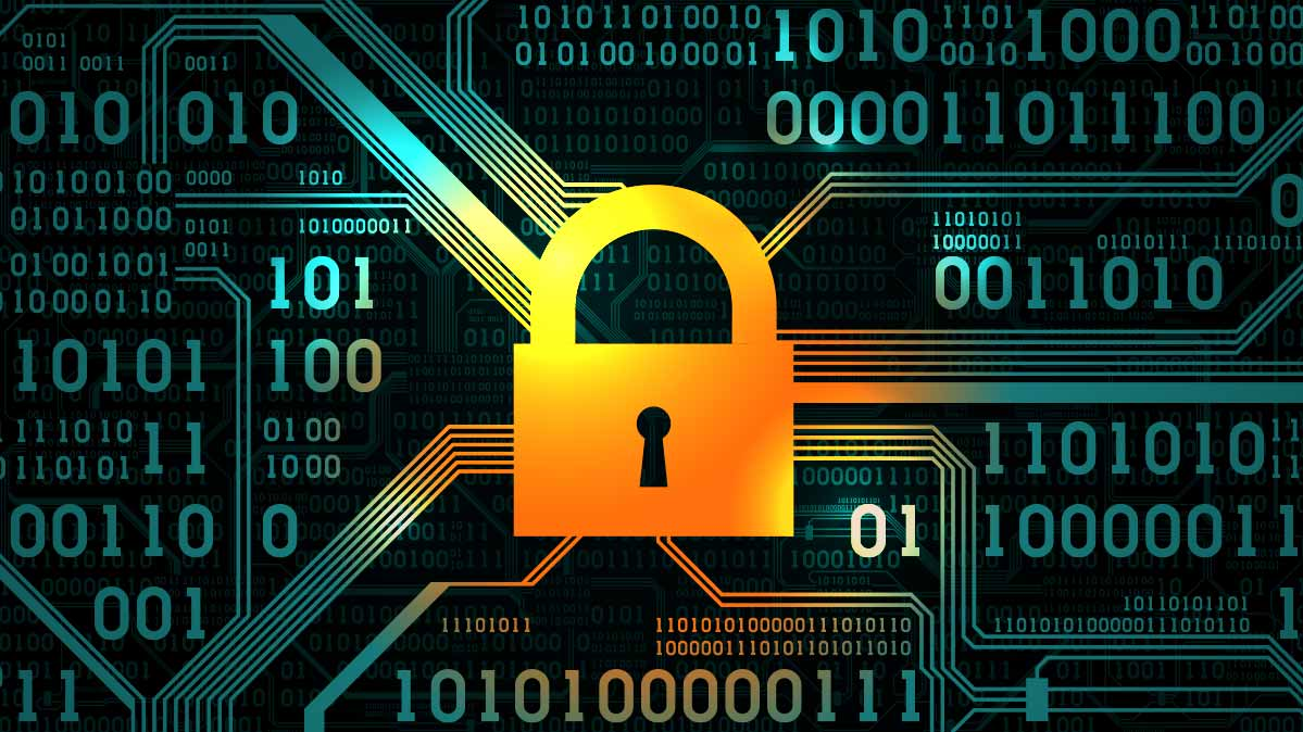 An illustration of a lock in front of digital data to represent antivirus software