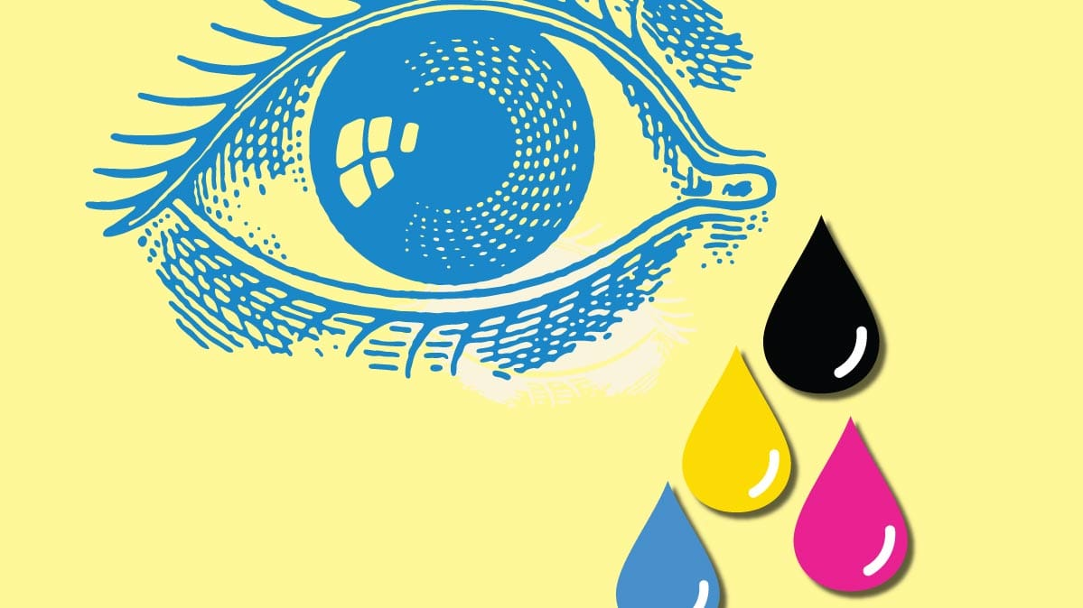 Illustration Of An Eye With Tears In Different Colors Its Enough That Printer Ink
