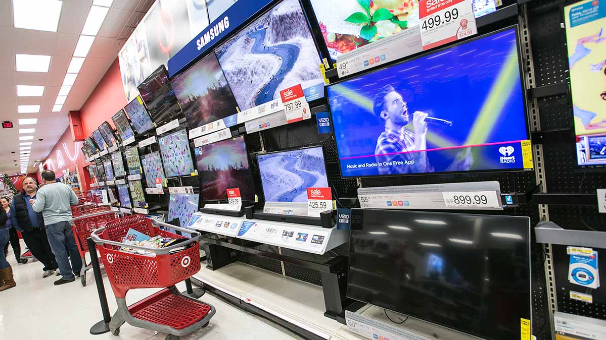 A display of TVs in a store.