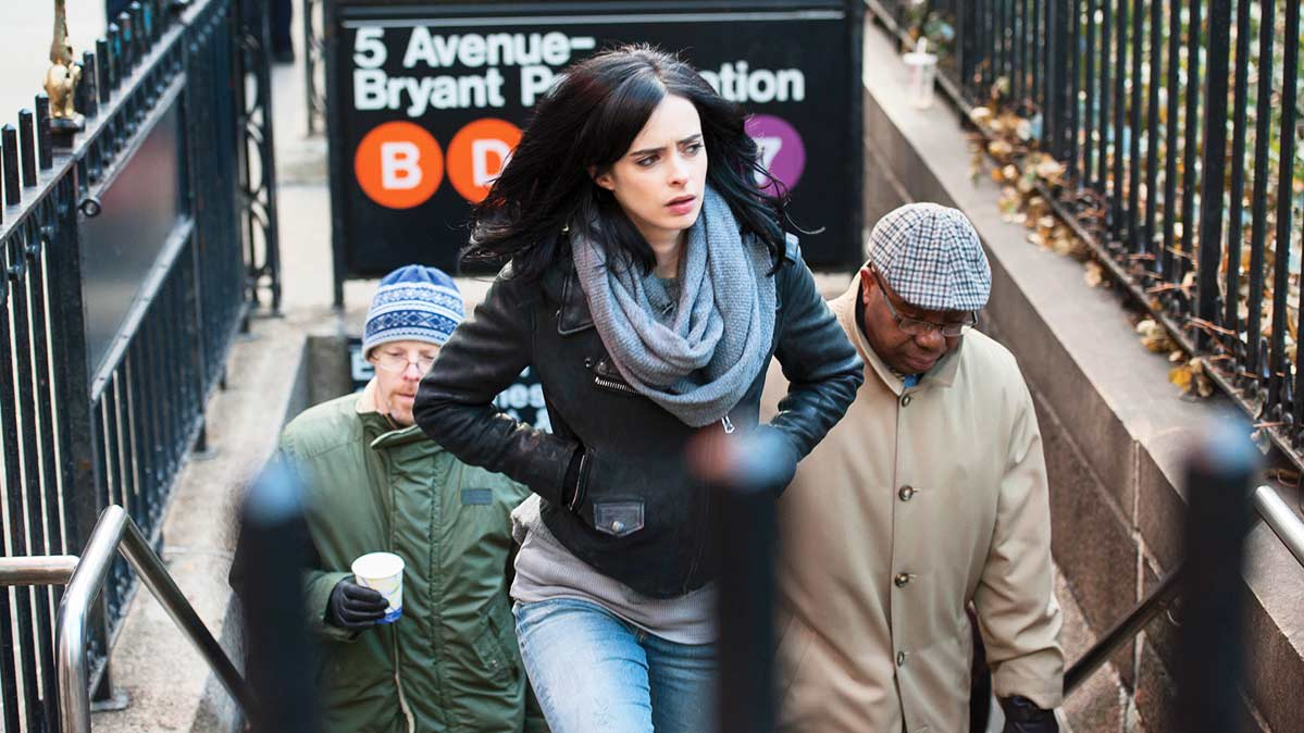 Jessica Jones from the Netlfix series, which is shown in 4K With HDR