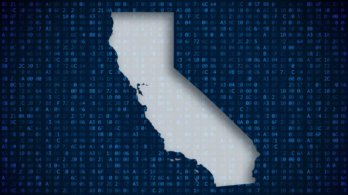 Map of California on a digital background, to represent new California privacy law.