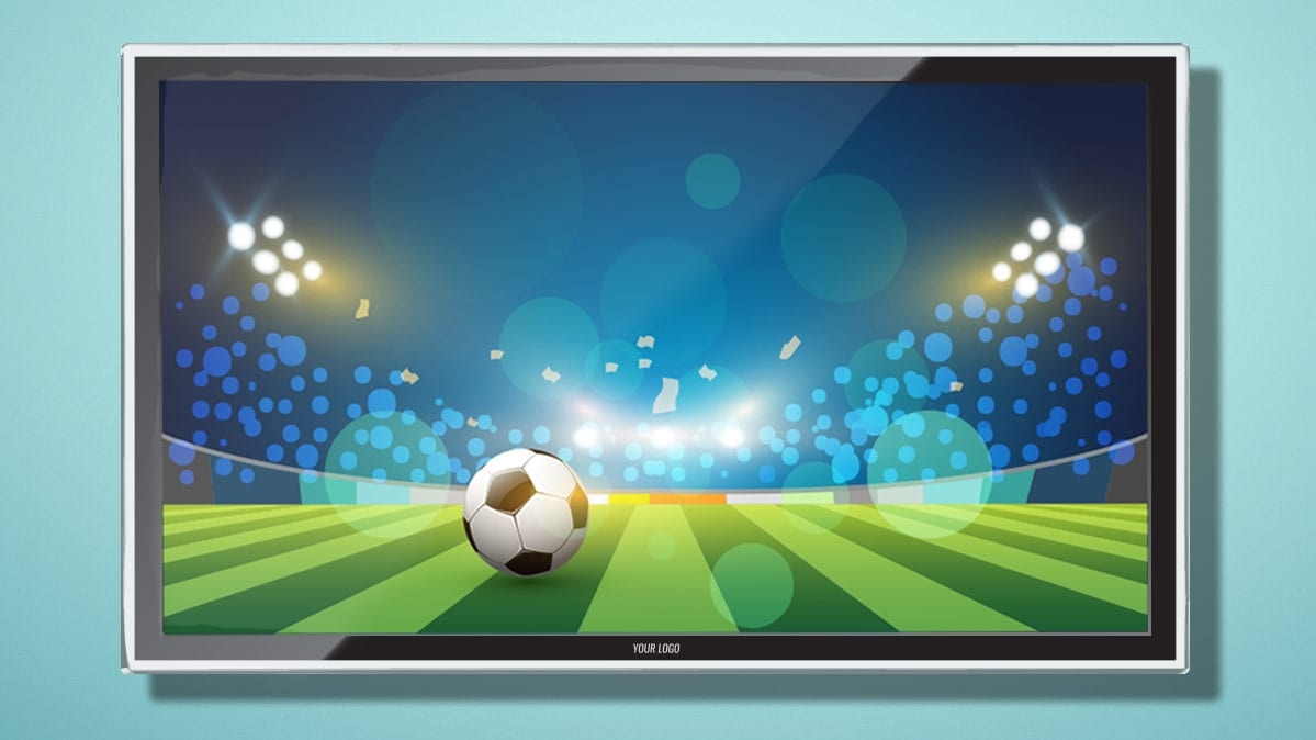 A soccer ball on a TV screen for an article on streaming the World Cup.