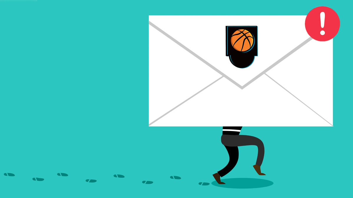An illustration of someone walking a white envelope with a basketball on it.