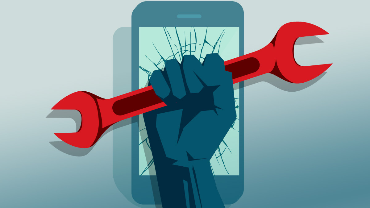 Illustration of a fist clenching a wrench in front of a cracked smartphone.