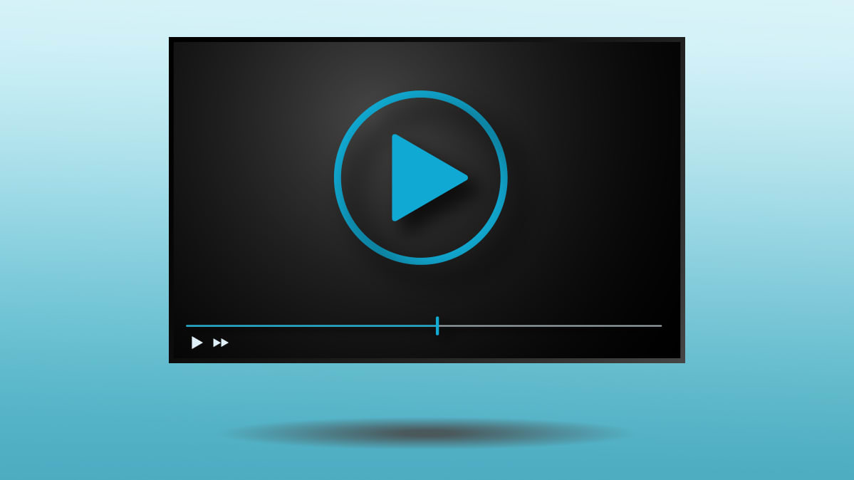 A play button on a TV showing streaming video service.