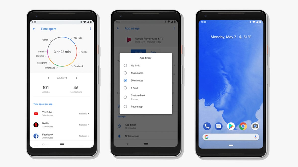 Three phones showing Android P screens, including a new dashboard, app timer, and Wind Down feature.