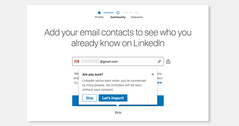 A popup in LinkedIn's new account set-up process.