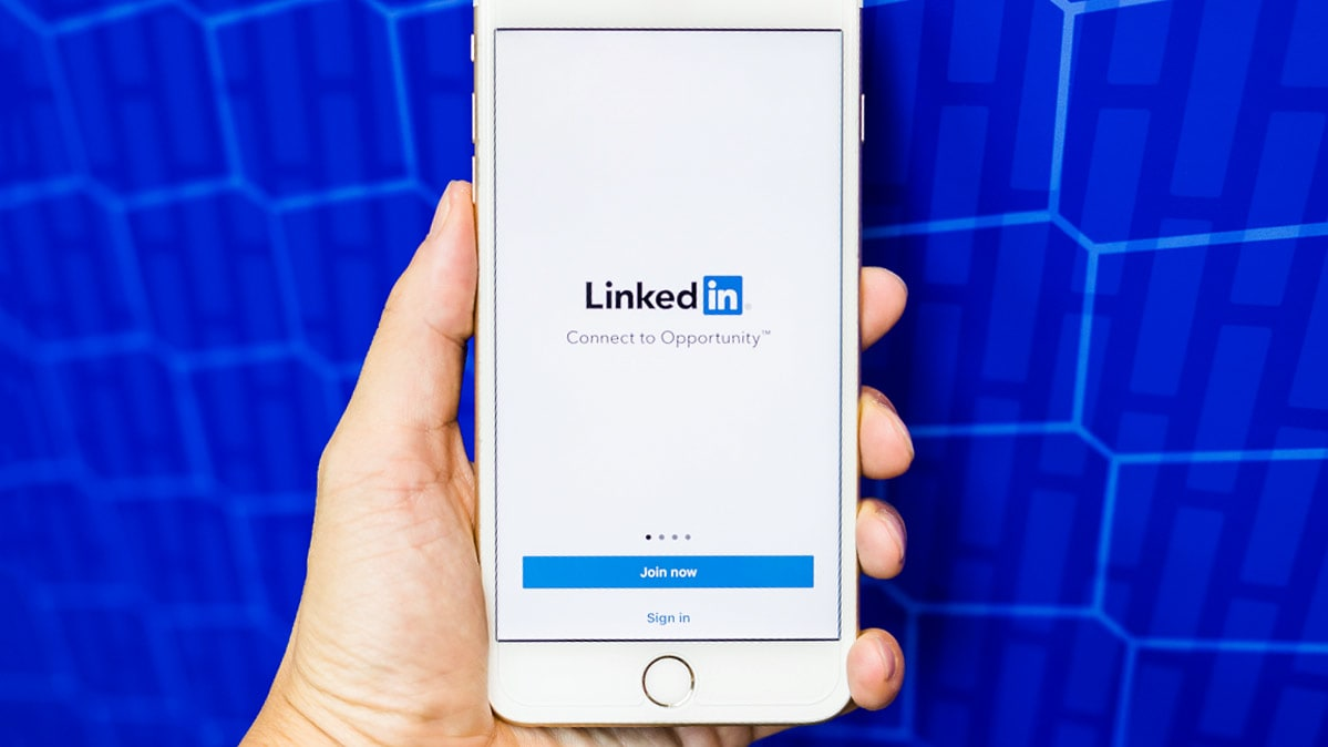 LinkedIn login page on a phone.