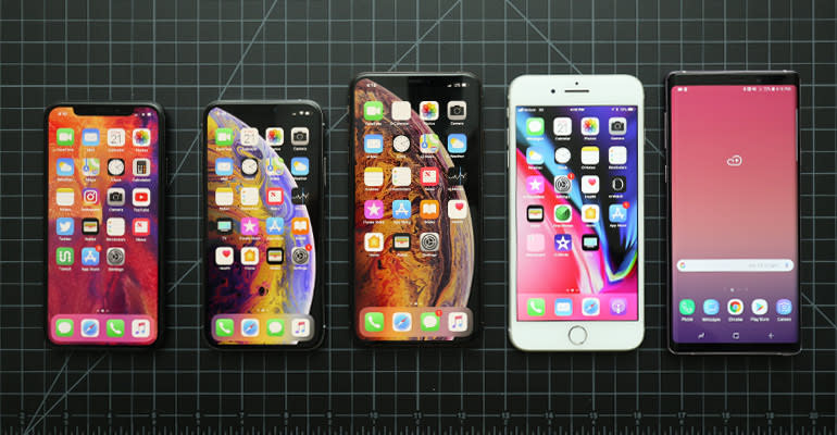 From left, the iPhone X, iPhone XS, iPhone XS Max, iPhone 8 Plus, and Samsung Galaxy Note9.