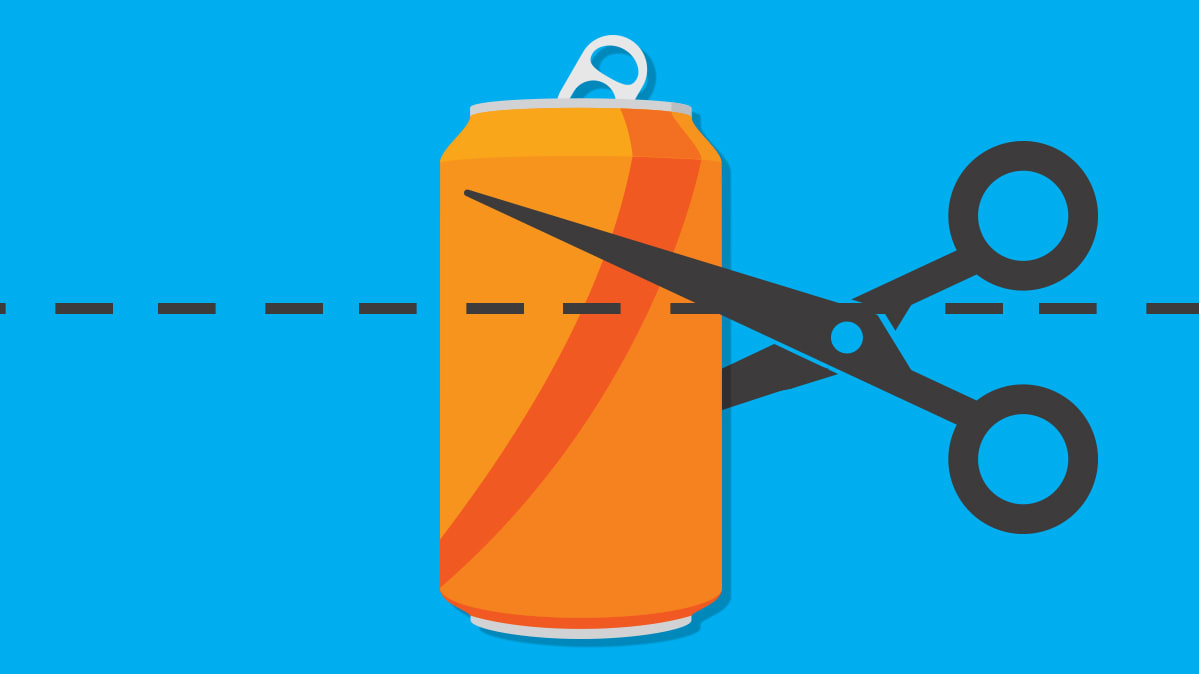 New research shows Philadelphia's soda tax reduces daily soda consumption by 40 percent. Illustration of cutting a soda can.