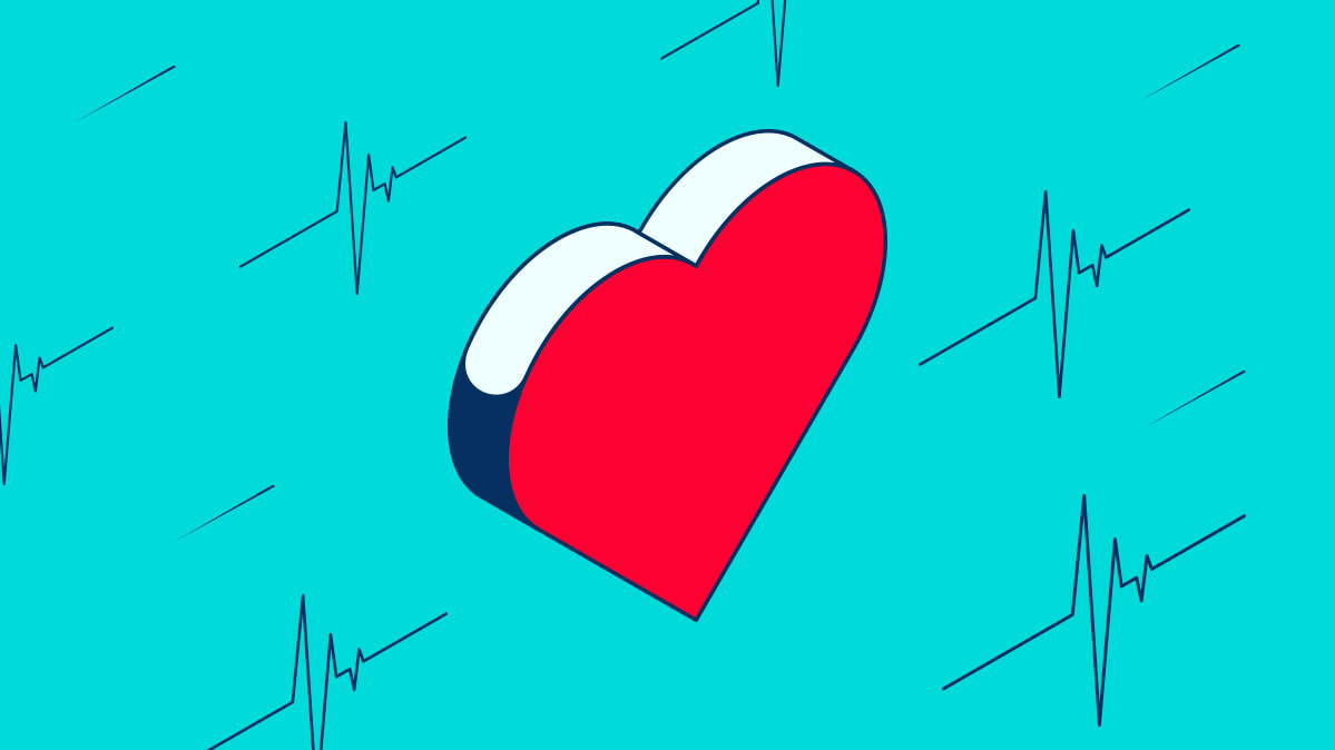 illustration of a heart on a turquoise background