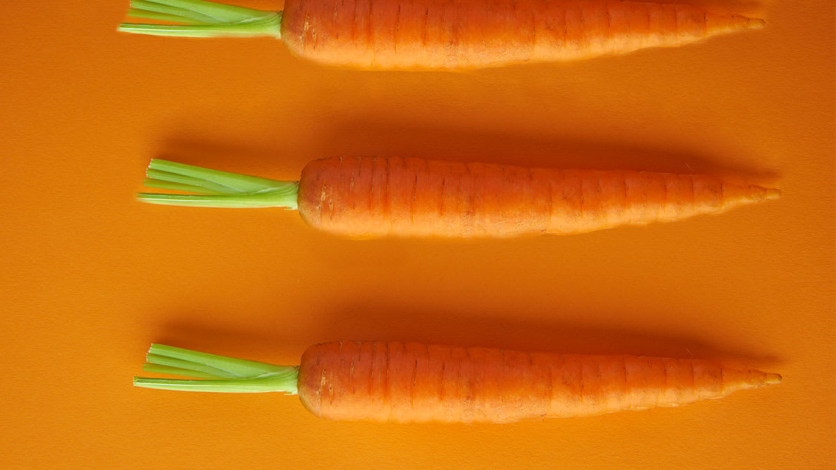 Are carrots good for you? We find out. Shown: Several carrots.