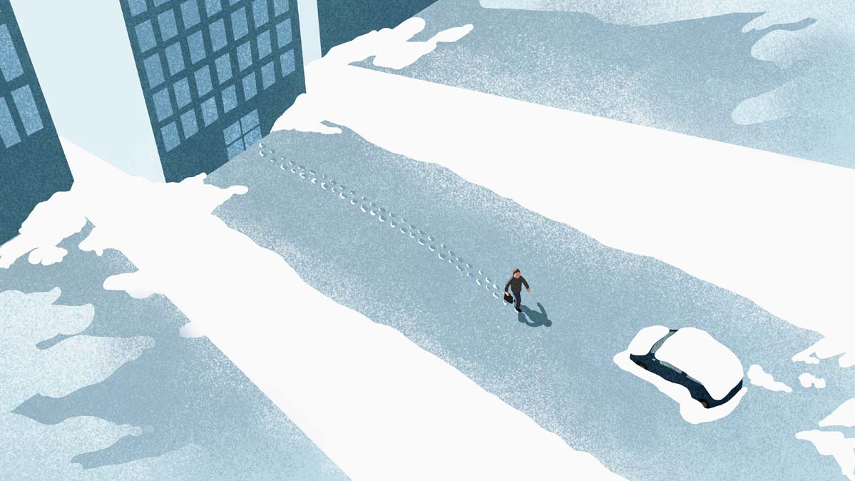 An illustration of a person walking through the snow toward their car.