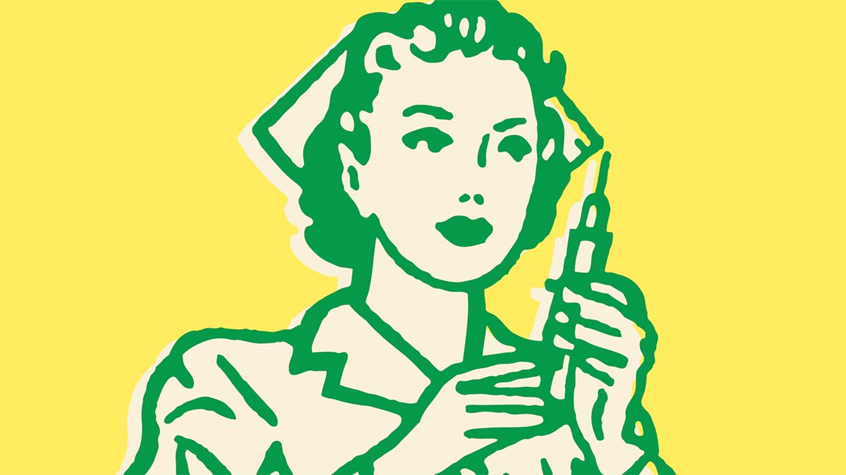 An illustration of a nurse holding a vaccine.