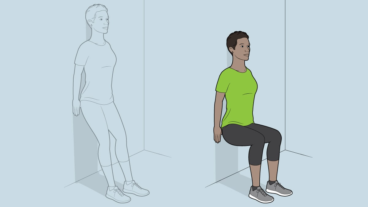 Wall sit exercise for a binge-watch workout